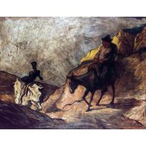 Lienzo Tela Don Quijote Y Sancho Por Honoré Daumier 57x75 Cm