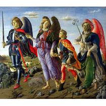 Lienzo Tela Arte Sacro 3 Arcángeles Y Tobias 52 X 60 Cm