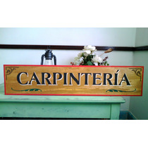 Anuncio Letrero Taller Carpinteria Madera Antiguo Vintage