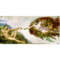 Cuadro En Tela De La Creación, Miguel Ángel. 60 X 150 Cm.