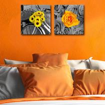 Cuadro Decorativo 2 Pz 30x30 Girasoles Y Rosas