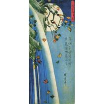 Lienzo Tela Escuela Utagawa Luna Y Cascada Japón 90 X 40 Cm