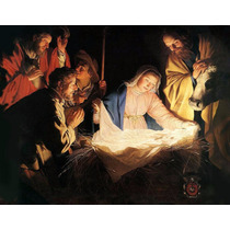 Lienzo Tela Adoración Al Niño Dios 73 X 90 Cm. Arte Sacro