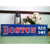 Cuadro Anuncio Letrero Boston Red Sox Baseball Madera Mlb
