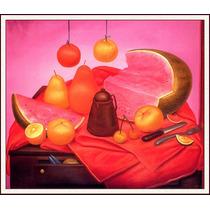 Lienzo-tela, Bodegón Con Sandía, Fernando Botero, 68 X 80 Cm