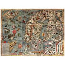 Lienzo Tela Carta Marina Norte De Europa 1539 50 X 68cm Mapa