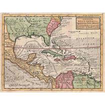 Lienzo Tela Mapa Indias Occidentales Y El Caribe Año 1732
