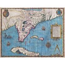Lienzo Tela Mapa De Florida Y Cuba Año 1591 50 X 65 Cm Plano