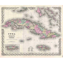 Lienzo Tela Mapa Isla De Cuba Jamaica 1855 50 X 61 Cm