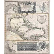 Lienzo Tela Mapa Florida E Indias Occidentales 1737 60x50cm