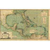 Lienzo Tela Mapa Indias Occidentales 50 X 79 Cm Decoración