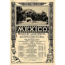 Lienzo Tela Anuncio Tren México San Luis Railway 1906 75 X50