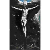 Lienzo Tela Cristo En La Cruz El Greco Arte Sacro 50 X 81 Cm