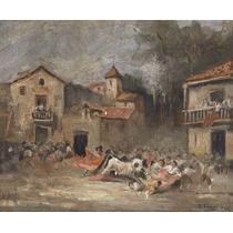 Lienzo Pintura Tauromaquia Toros Fiesta Brava 1868 50 X 61cm