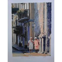 Antonio Pintor Colombiano Litografía Original Calle Sto. Dom