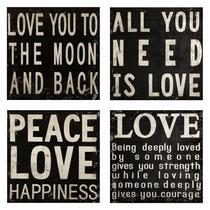 Set De 4 Cuadros Minimalistas Love Beatles Importados Imax