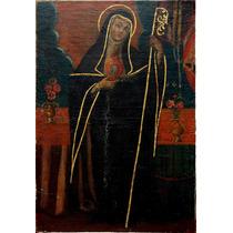 Sta Gertrudis De Helfta Oleo Colonial Peru S Xviii