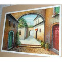 Pintura Al Óleo: Casa Rústica 60 X 90 Cm