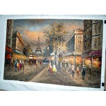 Pintura Al Óleo: Parisino En Medidas 60 X 90 Cm Maa