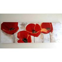 Pintura Amapolas 1.5m X50cm A Mano Textura Envio Gratis!
