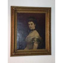 Pintura Al Oleo Antigua Emperatriz Sissi De Austria Op4