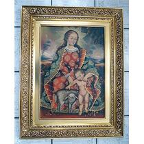 Virgen Con Niño. Pintura Al Óleo Con Marco Hoja De Oro