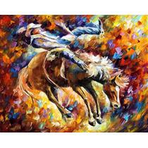 Rodeo - Pintura Al Óleo Maestro Leonid Afremov, Animal