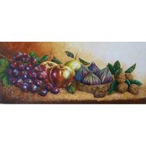 Grande Bodegón Cuadro Óleo/madera Frutas, Nueces 172x72.5 Cm