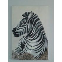 Magnifico Cuadro/pintura Al Oleo Zebra