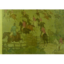 Ink & Oil Hunting Painting Rare Circa 1880