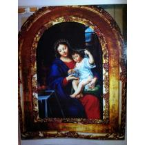 Pintura Al Oleo Y Marco De Cedro Virgen De Las Uvas