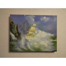 Pintura Al Oleo Barco Vela Entre Las Olas