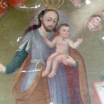 Pintura Antigua Y Colonial San José Y Niño Dios