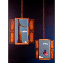 Pintura Al Óleo/madera Surrealismo Ventanas Arte Mexicano