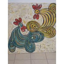 Pintura Al Oleo De Gallos