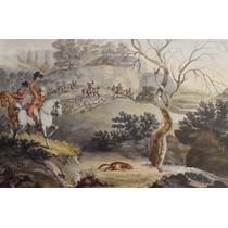 Grabado Fox Hunting Rare & Old