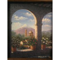 Portal,óleo Sobre Lienzo,original, 39x34 Cm.c/marco Rústico