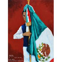 El Niño Heroe Oleo Original Kinkin Mexico Bandera Escuela