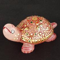 Tortuga Esmaltada De Cuarzo Rosa 480..00 Quilates