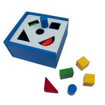 Caja Alcancía Figura Geométricas Madera 13x13cm 10pzs 3+ Dml