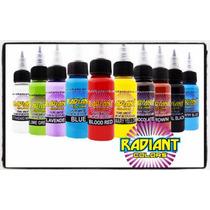 Set De 10 Tintas 1 Onza Tatuar Marca Radiant Colors Tattoo