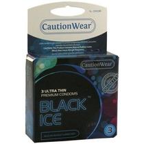 12 (doce) Condones Caution Wear Black Ice Preservativos