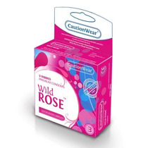 12 (doce) Condones Caution Wear Wild Rose Preservativos