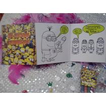 12 Invitaciones Minions Cuento Para Coloreal Y Crayolas