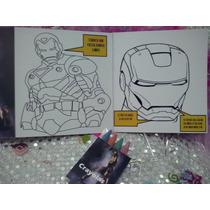 12 Invitaciones Iron Man Cuento Para Coloreal Y Crayolas