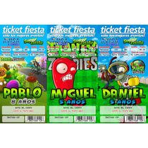 Invitaciones Infantiles Ticket Master Y Librito Colorear