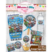 Invitacion Cumpleaños Avanger Superhero Kit Imprimelo Tú!!
