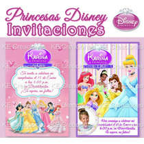 Kit Imprimible Invitaciones Cumpleaños Princesas Disney