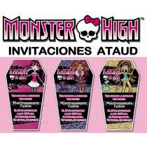 Invitaciones Cumpleaños Monster High Draculaura Ataud Fiesta