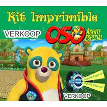 Kit Imprimible Oso Agente Especial Invitaciones Tarjetas Mx